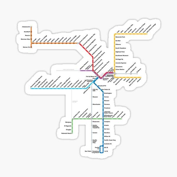 Los Angeles Metro Rail Map Sticker
