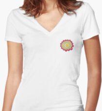 Cartoon Flower Women's Fitted V-Neck T-Shirt