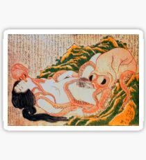 Dream of Fisherman's Wife, Hot Sex, Japanese Shunga art Sticker