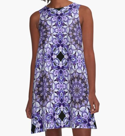 Blue Hydrangea Abstract Flower Petals A-Line Dress