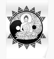 Ying and Yang Buddha Poster