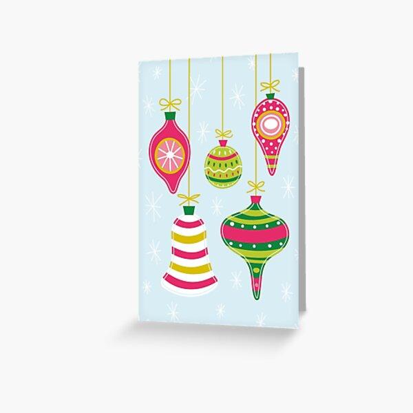 Vintage Christmas Ornaments Greeting Card