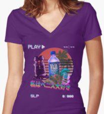 Vaporwave Fiji Bottle Women's Fitted V-Neck T-Shirt