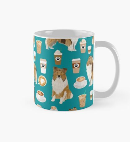 rough collie coffee fabric coffee patern dog gift rough collie dogs Mug