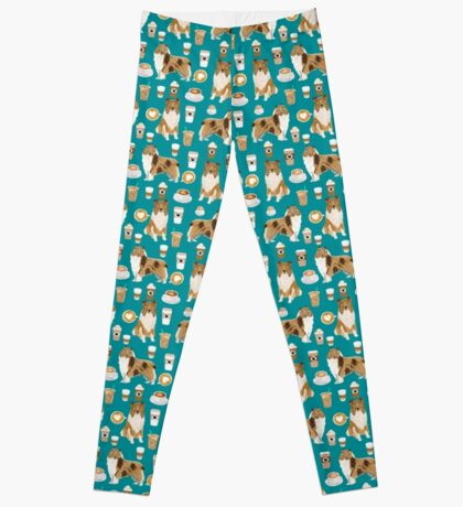 rough collie coffee fabric coffee patern dog gift rough collie dogs Leggings
