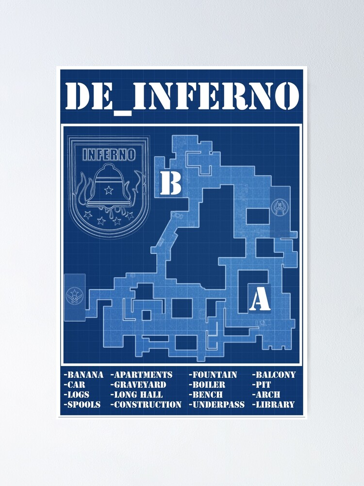 Alternate view of CSGO DE_INFERNO (old map ) Poster