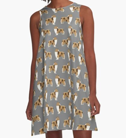 rough collie dog design dog pattern dog print rough collies gifts accessories A-Line Dress