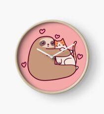 Sloth Loves Cat Clock
