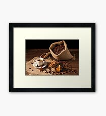 Coffee cup with cinnamon, star anise and dried orange fruit Framed Print