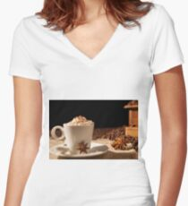 Close-up of coffee cup with whipped cream and star anise Women's Fitted V-Neck T-Shirt