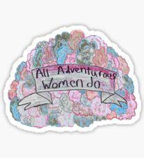 Pegatina todas las mujeres aventureras hacen