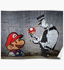Banksy - Policeman and Mario's mushroom Poster