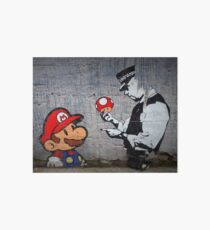 Banksy - Policeman and Mario's mushroom Art Board
