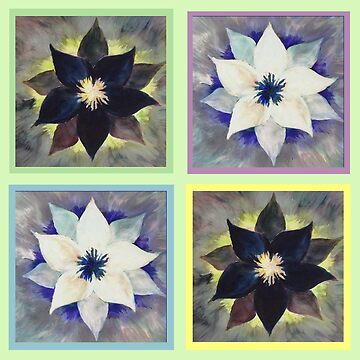 Black and White Flower Quilt on Light Green by abigailryder