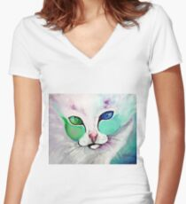 Loki The Cat - Cat Art by Valentina Miletic Women's Fitted V-Neck T-Shirt