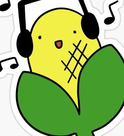 Corn with Headphones Sticker