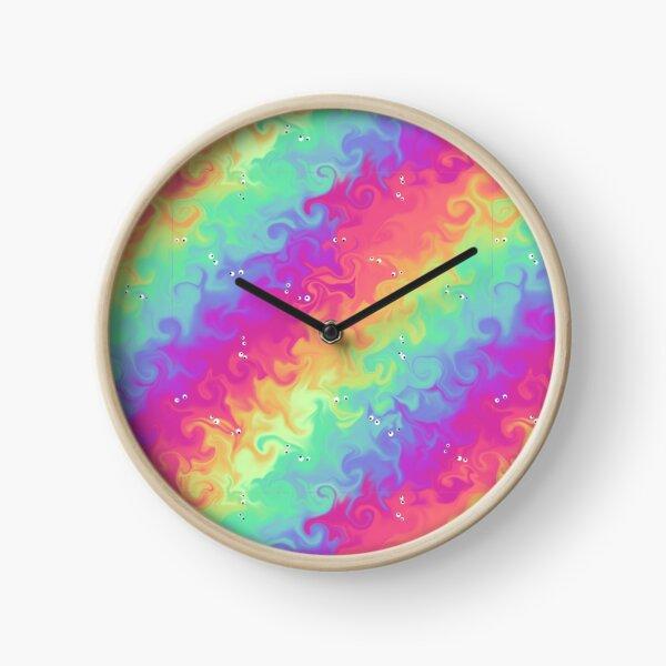 Silly Floating Googly Eyes on Rainbow Swirls Clock