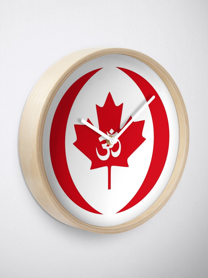 Alternate view of Hindu Canadian Multinational Patriot Flag Series Clock