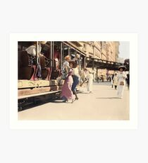 Mother helps her child off trolley in NYC — Colorized Art Print