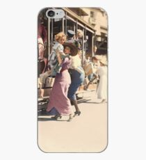 Mother helps her child off trolley in NYC — Colorized iPhone Case