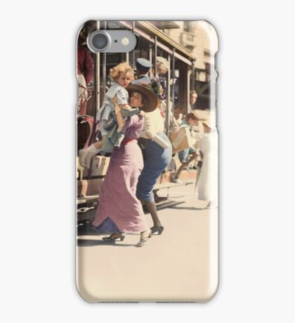 Mother helps her child off trolley in NYC — Colorized iPhone Case/Skin