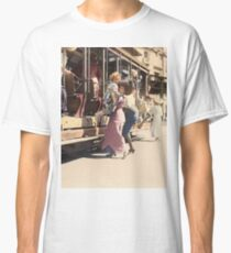 Mother helps her child off trolley in NYC — Colorized Classic T-Shirt