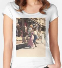 Mother helps her child off trolley in NYC — Colorized Fitted Scoop T-Shirt