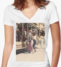 Mother helps her child off trolley in NYC — Colorized Women's Fitted V-Neck T-Shirt