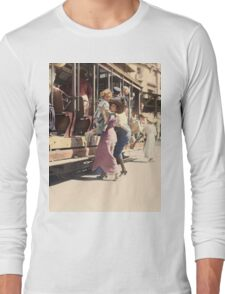 Mother helps her child off trolley in NYC — Colorized T-Shirt