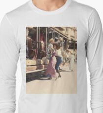 Mother helps her child off trolley in NYC — Colorized Long Sleeve T-Shirt