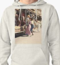 Mother helps her child off trolley in NYC — Colorized Pullover Hoodie