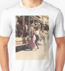 Mother helps her child off trolley in NYC — Colorized Unisex T-Shirt