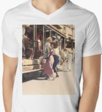 Mother helps her child off trolley in NYC — Colorized Men's V-Neck T-Shirt