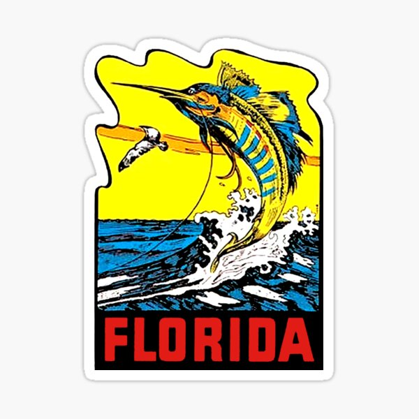 Florida-Deep Sea Fishing   Vintage-Style Travel Decal