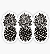 Pineapple Trio | Black and White Sticker