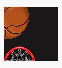 Basketball and net Photographic Print