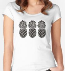 Pineapple Trio | Black and White Women's Fitted Scoop T-Shirt