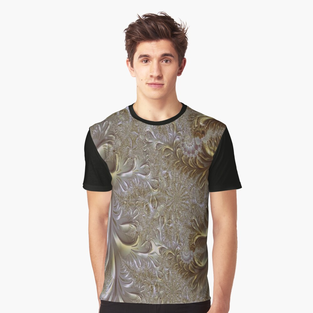 Gold and Silver Fantasy Lace Work Graphic T-Shirt Front