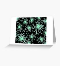 Doodle Flower in Pastel Green with Black Background Greeting Card