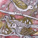 Birds on Branches—In Colored Ink by Ivana Redwine