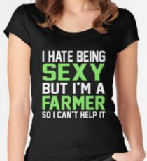 I have being sexy but i'm a farmer so i can't help it  Women's Fitted Scoop T-Shirt