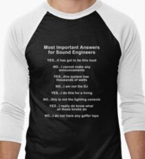 Sound Engineer's mantra ... white type Men's Baseball ¾ T-Shirt