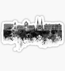 Strasbourg skyline in black watercolor Sticker