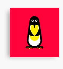 Penguin standing red background Canvas Print