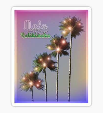 Palm Trees With Lights Mele Kalikimaka Sticker