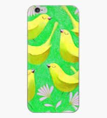 Gold birdies on lime iPhone Case