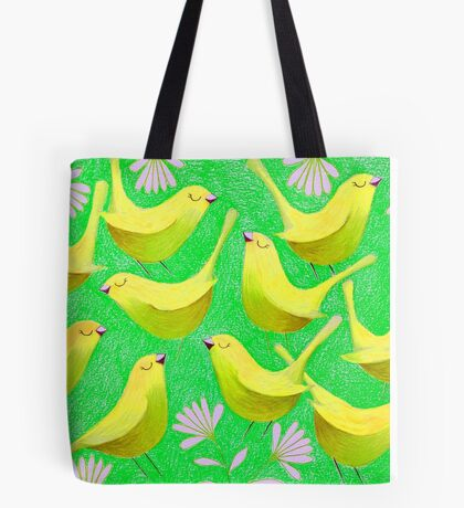Gold birdies on lime Tote Bag