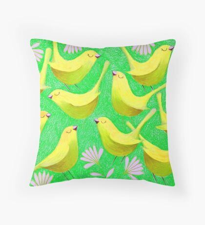 Gold birdies on lime Throw Pillow