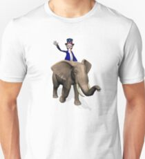 Uncle Sam Riding On Elephant Unisex T-Shirt