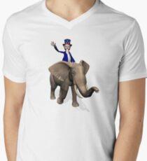 Uncle Sam Riding On Elephant Men's V-Neck T-Shirt